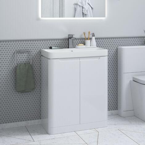 Horizon Tahoe 600mm Floor Standing Bathroom Vanity Unit in White Gloss