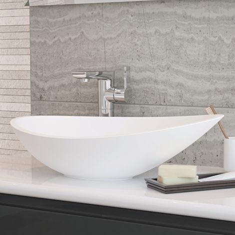 Horizon Venus 564mm Polymarble Countertop Wash Basin in White