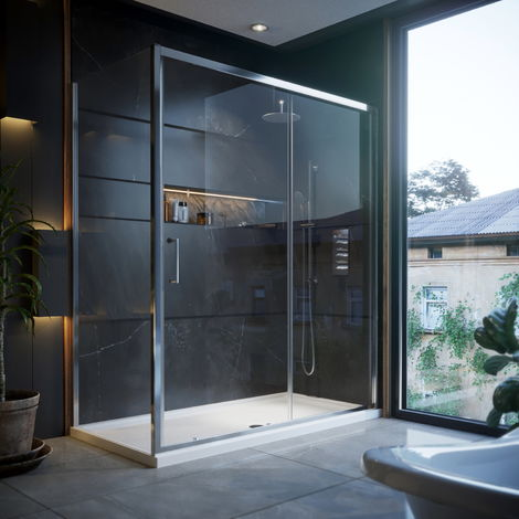 Horizon6 1400 X 900mm Sliding Door Shower Enclosure With Tray & Waste