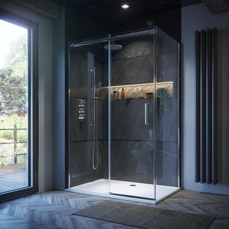 Horizon8 1400 x 700 Frameless 8mm Sliding Shower Enclosure Easy Clean