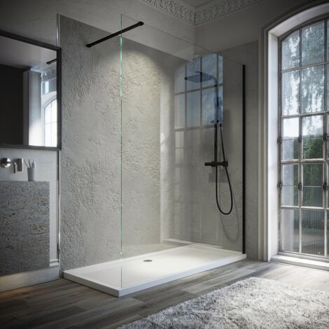 Horizon8 Black 1000x900mm Walk In Enclosure and Shower Tray