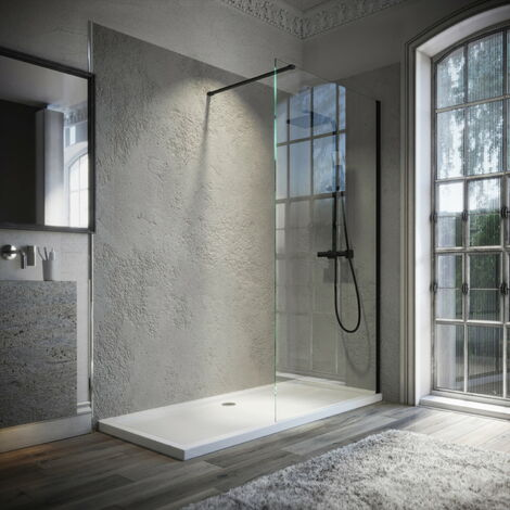 Horizon8 Black 1200x760mm Walk In Enclosure and Shower Tray