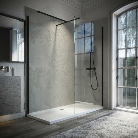 Horizon8 Black 1700x900mm Walk In Enclosure and Shower Tray