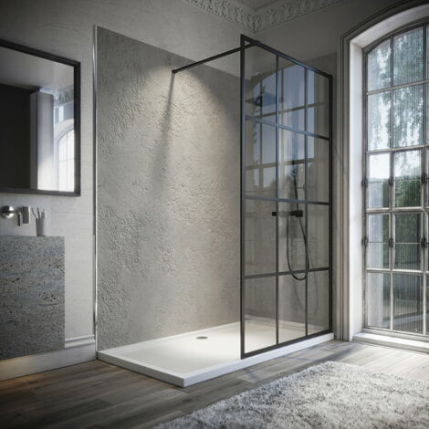 Horizon8 Black Framed 1200mm Wetroom Shower Screen 8mm Glass