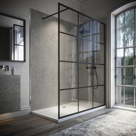 Horizon8 Black Framed 1200x700mm Walk In Enclosure and Shower Tray