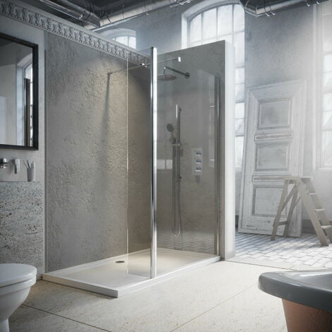 Horizon8 Chrome 900mm Wetroom Shower Screen and 300mm Return 8mm Glass