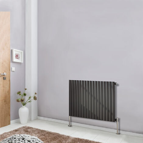 Horizontal 600x1003 Oval Column Designer Radiator Central Heating Single Panel Anthracite