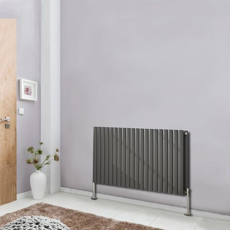 Horizontal 600x1180mm Oval Column Double Panel Designer Radiator Bathroom Central Heating Anthracite