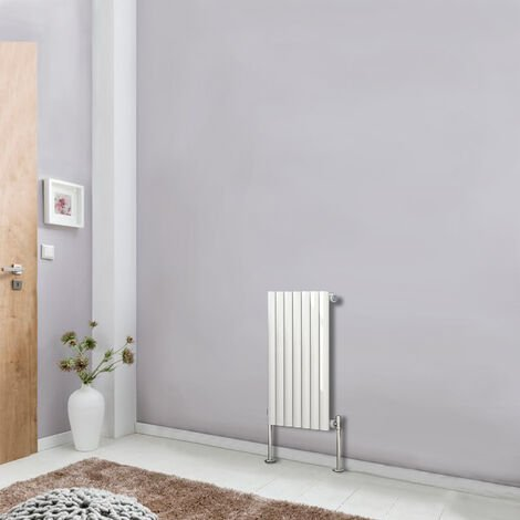 Horizontal 600x413mm Single Panel Oval Column Designer Radiator White Bathroom Central Heating