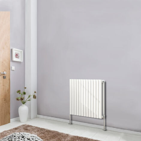 Horizontal 600x767 Oval Column Designer Radiator Central Heating Double Panel White