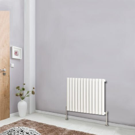 Horizontal 600x767 Oval Column Designer Radiator Central Heating Single Panel White