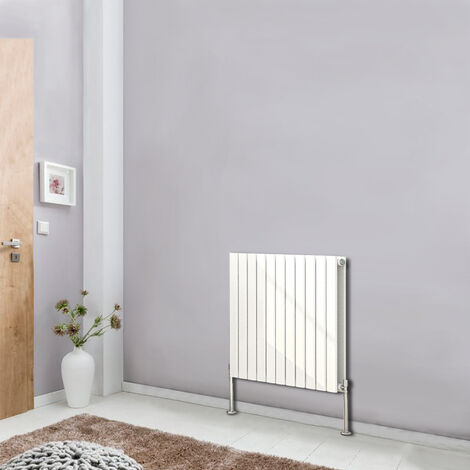 Horizontal Column Designer Radiator Flat Double Panel Bathroom Heater 600x748 Central Heating White