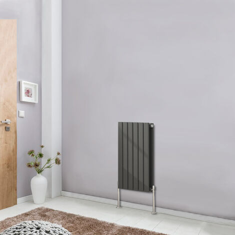 Horizontal Designer Flat Double Panel Column Radiator Anthracite Bathroom Heater 600x408 Central Heating
