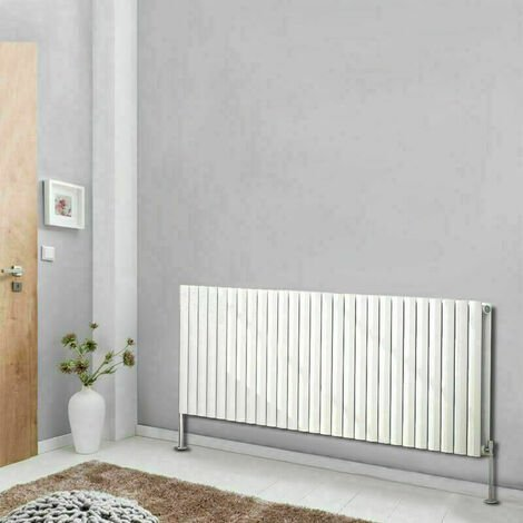 Horizontal Double Panel Oval Column Designer Radiator Bathroom Heater White 600x1593 Central Heating