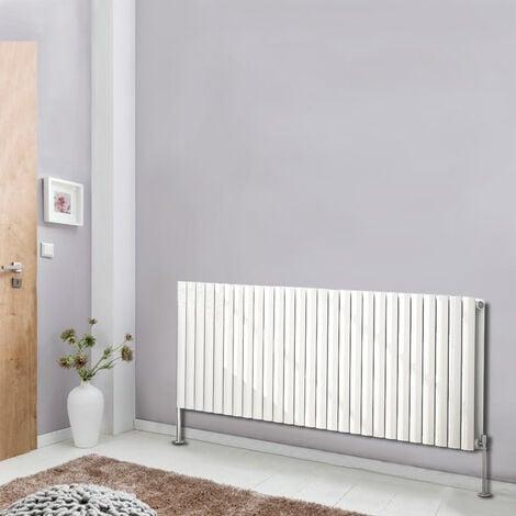 "main image of ""Horizontal Double Panel Oval Column Designer Radiator Bathroom Heater White 600x1593 Central Heating"""