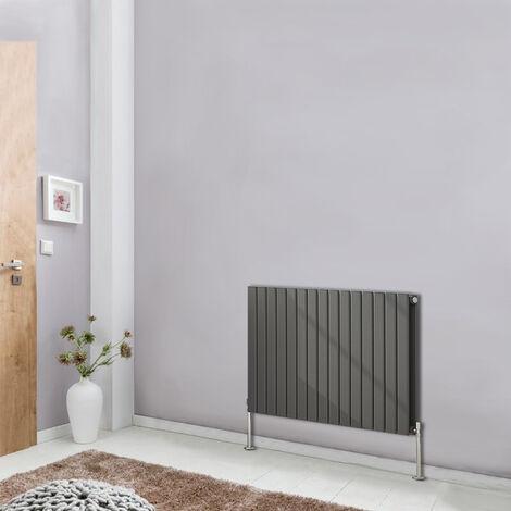 "main image of ""Horizontal Flat Column Designer Radiator Bathroom Heater Anthracite 600x1020 Central Heating Double Panel"""