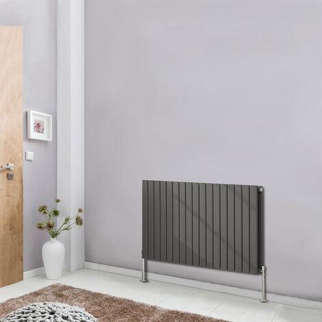 Horizontal Flat Double Column Radiator Anthracite 600x1156 Central Heating Rads