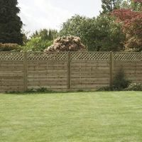 Horizontal Lattice Top Wooden Fence Panel - 6ft (1.8m) Wide & 6ft (1.8m) Wide