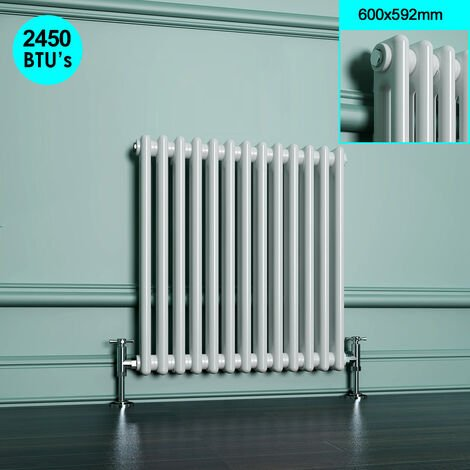 Horizontal Radiator with White Double Column 600 x 592 mm Traditional Cast Iron Style