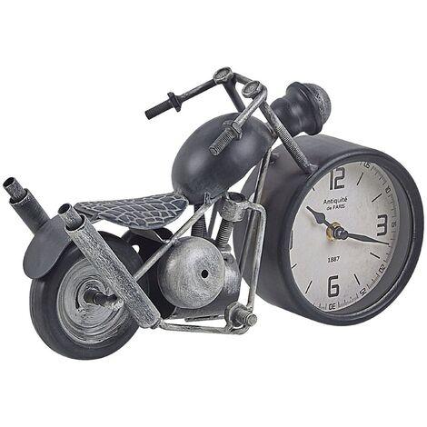 Horloge de table moto noire et argentée 19 cm BERNO