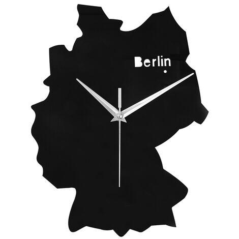 Horloge décorative Sans Tic-Tac horloge murale acrylique avec Mouvement à quartz - Noir SoBuy® EUH95-DE