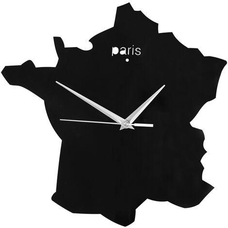 Horloge décorative Sans Tic-Tac horloge murale acrylique avec Mouvement à quartz - Noir SoBuy® EUH95-FR