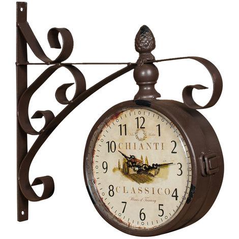 Horloge double face murale type station en fer forgé finition blanche antique L31XPR8xH33 cm