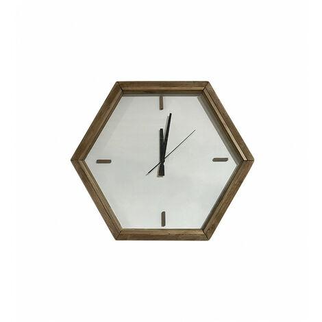 Horloge hexagonale accrochable posable sans support bois - CHALET - naturelle