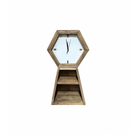 Horloge hexagonale murale 2 niches de rangement 60 cm bois - CHALET - naturelle