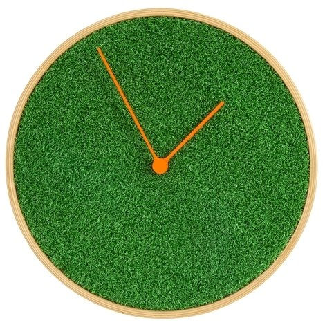 Horloge moderne Murale clock Rond Prairie petite herbe verte Couleur nature bois de Tilleul, Silencieux SoBuy® EUH94