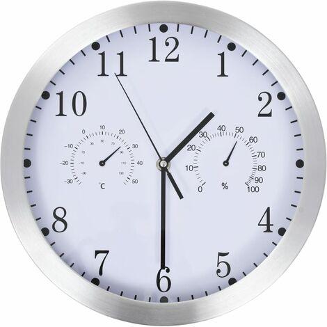 Horloge murale à quartz Hygromètre et thermomètre 30 cm Blanc