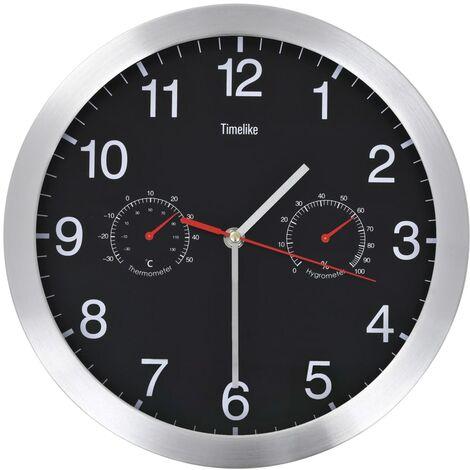 Horloge murale à quartz Hygromètre et thermomètre 30 cm Noir