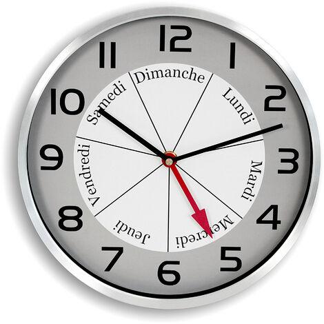 Horloge Murale avec Indication Jour de la Semaine