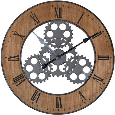 horloge murale avec roues dent es chiffres romains d 56. Black Bedroom Furniture Sets. Home Design Ideas