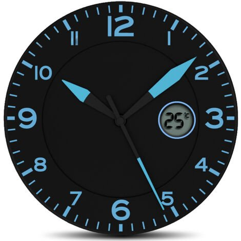 Horloge Murale avec Température - Ø25,4 cm - Noir et Bleu
