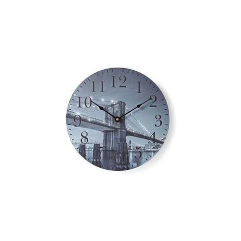 HORLOGE MURALE CIRCULAIRE | 30 CM DE DIAMÈTRE | IMAGE DU PONT DE BROOKLYN NEDIS