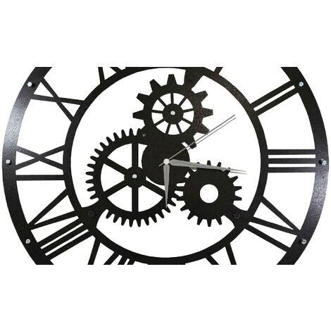 Horloge Murale - Engrenage - pour Sejour, Cuisine - Multicolore en Metal, 50 x 0,16 x 50 cm