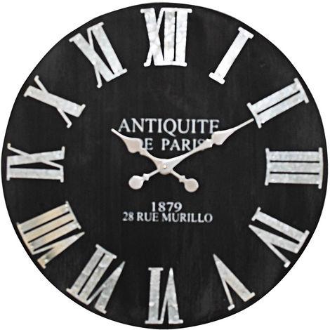 horloge murale noir chiffres romains diam tre 60 cm. Black Bedroom Furniture Sets. Home Design Ideas