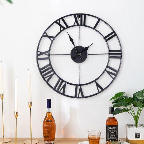 horloge murale pendule g ante chiffre romain m tal 40cm. Black Bedroom Furniture Sets. Home Design Ideas