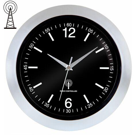 Horloge murale / radio-pilotée - Ø30cm - avec trotteuse et protection en verre