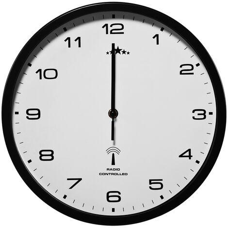 Horloge Murale radio pilotée Ø 31cm changement heure automatique - Noir