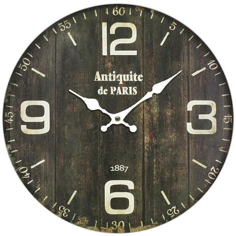 Horloge murale rétro design en bois brun foncé avec impression décorative