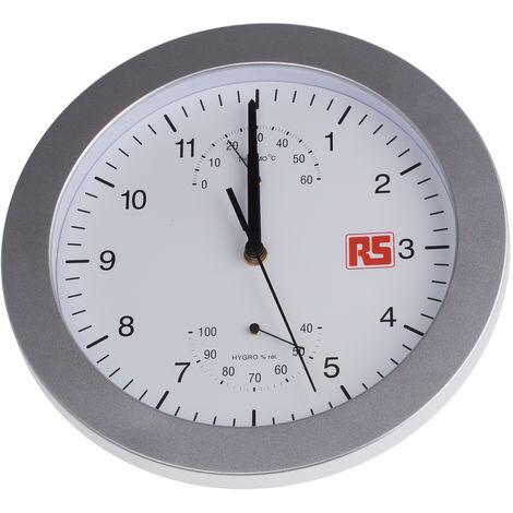 Horloge Murale RS PRO Analogique, Sur batterie Argent, Plastique