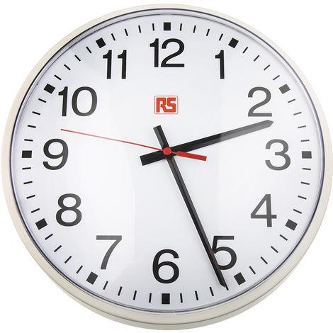 Horloge Murale RS PRO Analogique, Sur batterie Blanc, Métal, Dim. 320 (Dia.) x 50mm