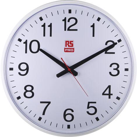 Horloge Murale RS PRO Analogique, Sur batterie Blanc, Métal, Dim. 436 (Dia.) x 60mm