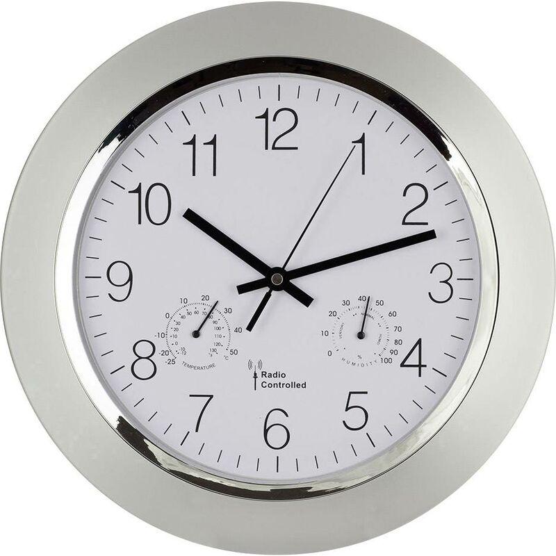 TFA Horloge Murale Radiopilot/ée Avec Temp/érature Ambiante 240 X 285 X 39 Mm Argent L X H X P