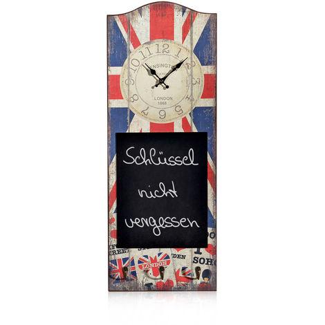 Horloge murale tableau mémo horloge crochet horloge bois utilisé découplage look 80 motif gastronomie GB drapeau anglais