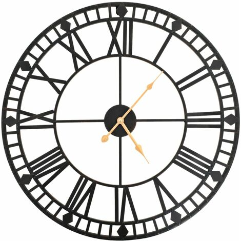 Horloge murale vintage avec mouvement à quartz Métal 60 cm XXL