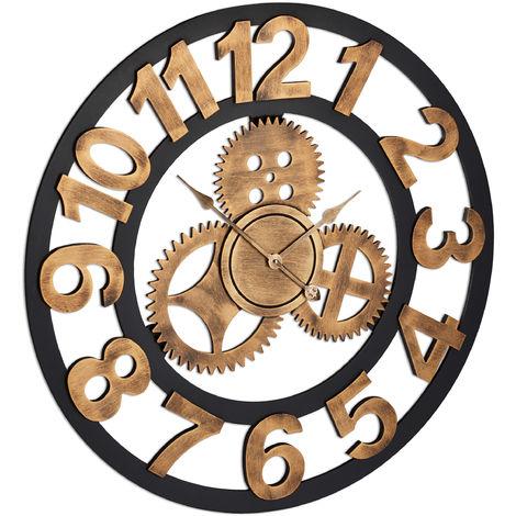 Horloge murale, XL, Rouages, 3D, Mécanisme, Cuisine, Silencieuse, Industrielle, Salon, Ø 80 cm, Doré, Noir