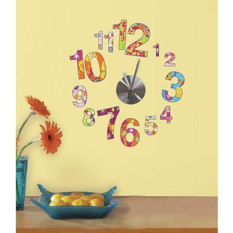 HORLOGE - Stickers repositionnables horloge colorée - Multicolore